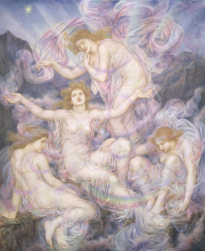 WDM204745 Daughters of the Mist (oil on canvas); by Morgan, Evelyn De (1855-1919); 98x45 cm; © The De Morgan Centre, London; English, out of copyright