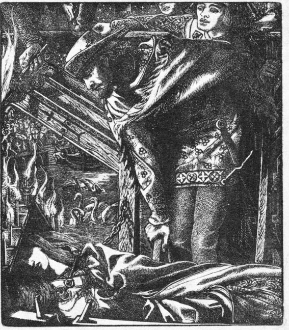 Dante Gabriel Rossetti's illustration for The Lady of Shalott, published in Moxon's Tennyson.