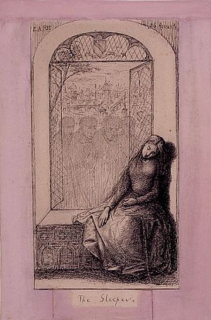 Illustration for Poe's 'The Sleeper', Dante Gabriel Rossetti