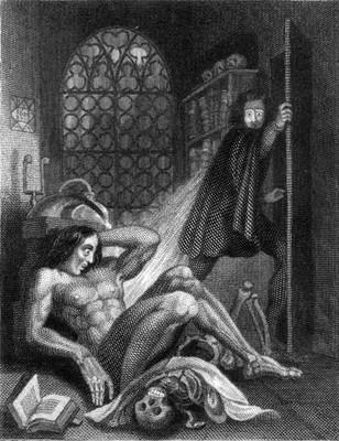Theodore von Holst's illustration for the frontispiece of 'Frankenstein'