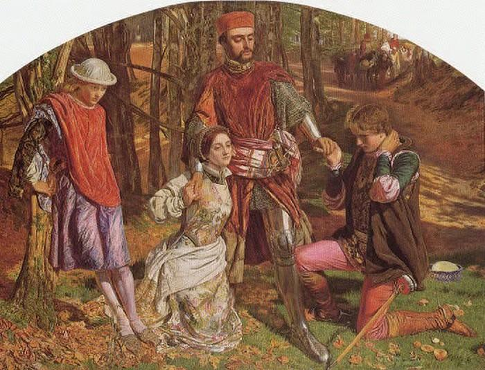 'Valentine Rescuing Sylvia from Proteus', William Holman Hunt. Hunt repainted Lizzie's face, so the image now is not as it first appeared.