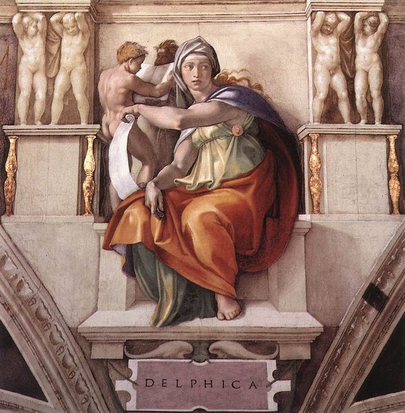 Michelangelo's Delphic Sibyl on the ceiling of the Sistine Chapel