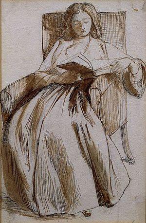 Elizabeth Siddal reading, drawn by Dante Gabriel Rossetti