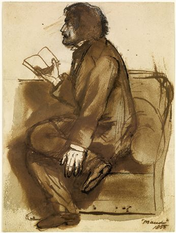 Sketch of Tennyson reading Maud by Dante Gabriel Rossetti