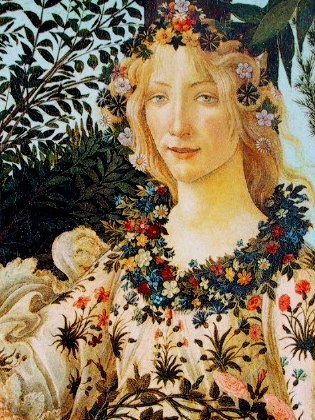 Detail of Flora in Botticelli's Primavera,