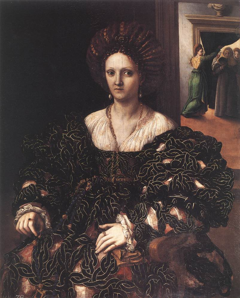 Portrait of a woman, usually identified as Isabella d'Este by Giulio Romano