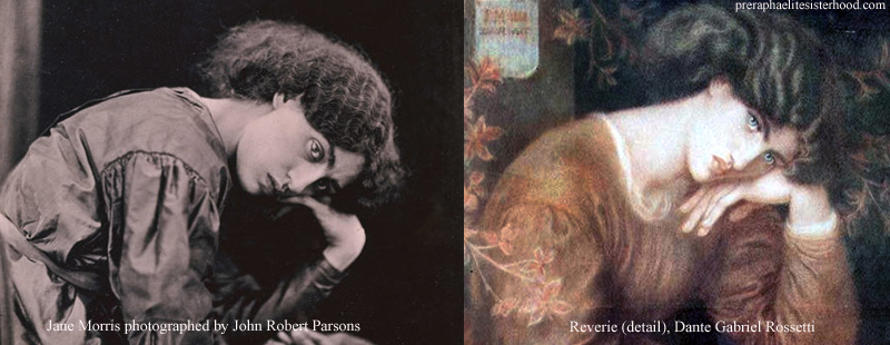"Photograph of Jane Morris (left). ""Reverie' by Dante Gabriel Rossetti (right). Also see Unconventional Beauty."