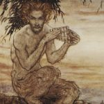 Detail from Arthur Rackham's illustration of Pan from The Wind in the Willows