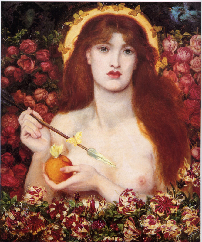 'Venus Verticordia', Dante Gabriel Rossetti. This is the painting DGR was working on during Allingham's visit. The model for this piece was Alexa Wilding, who appears in may Rossetti works, including The Blessed Damozel.