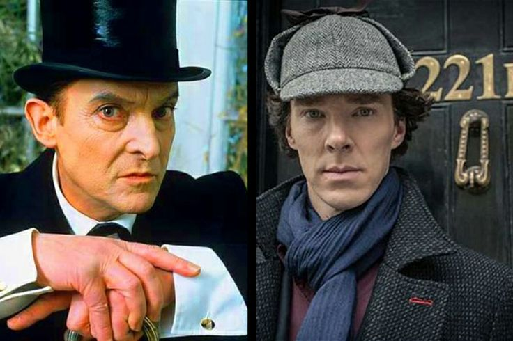 Jeremy Brett (left) and Benedict Cumberbatch (right) as Sherlock Holmes