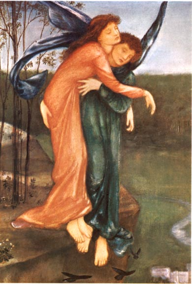 'Zephyr and Psyche', Sir Edward Burne-Jones (1865)