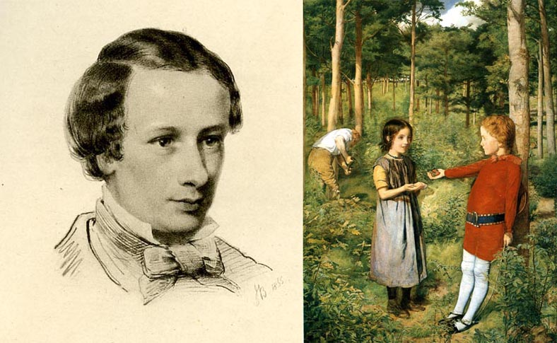 Left: Drawing of Coventry Patmore, 1855, by John Brett. Right: Patmore was no stranger to the Pre-Raphaelites. In 1850-1, Millais painted The Woodsman's Daughter, based on Patmore's poem
