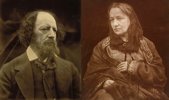 Left: Alfred, Lord Tennyson photograph by Julia Margaret Cameron. Right: Victorian photographer Julia Margaret Cameron