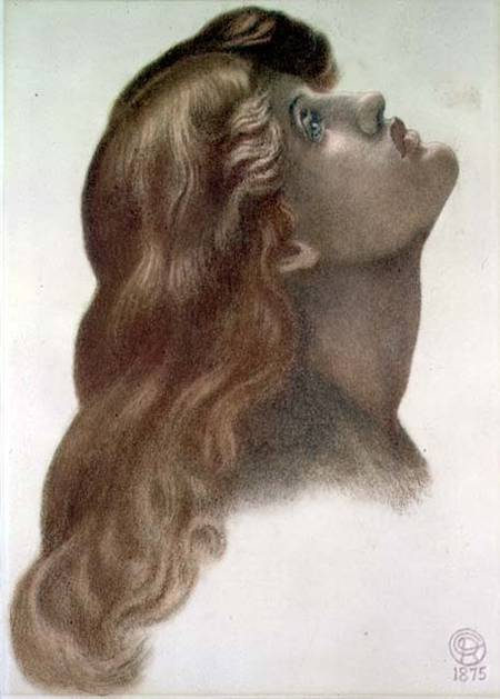 Model: May Morris. AMO101434 Study for the head of the left-hand figure from 'Astarte Syriaca', 1875 (coloured chalks on paper) (see 62973) by Rossetti, Dante Charles Gabriel (1828-82) coloured chalks on paper 50x35.5 © Ashmolean Museum, University of Oxford, UK English, out of copyright