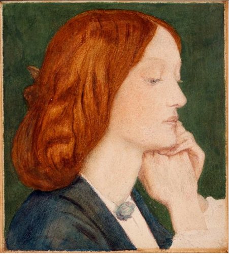 1854 painting of Elizabeth Siddal by Dante Gabriel Rossetti.