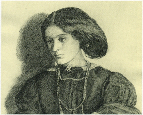 Drawing of Georgiana by Dante Gabriel Rossetti, at the time of her engagement.