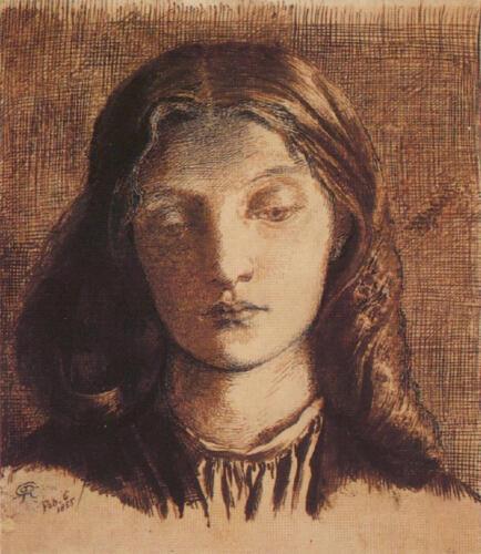 1855 drawing of Elizabeth Siddal by Dante Gabriel Rossetti.