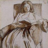 Elizabeth Siddal reading, drawn by Dante Gabriel Rossetti.