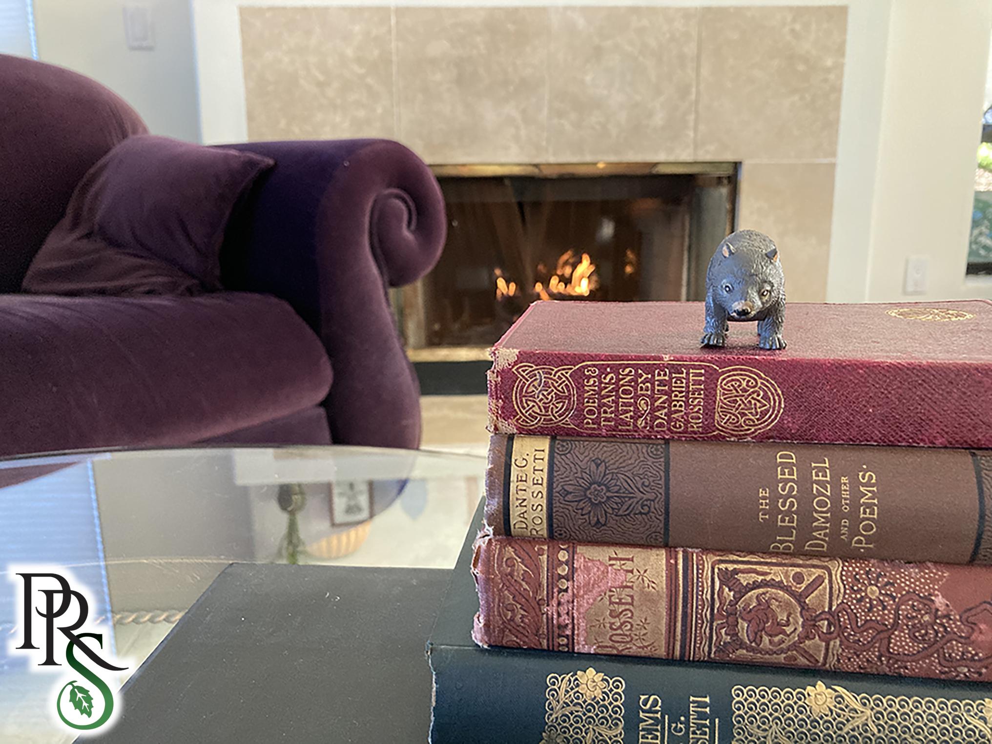 Pre-Raphaelite Sisterhood wombat with books